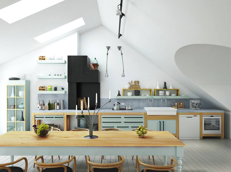 MFC xanh ngọc cho không gian bếp thêm tươi mới