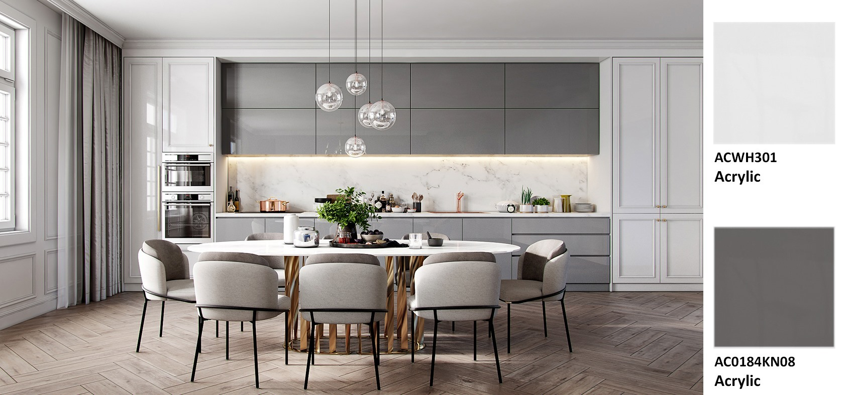 Chọn Acrylic cho không gian bếp đẹp bất ngờ