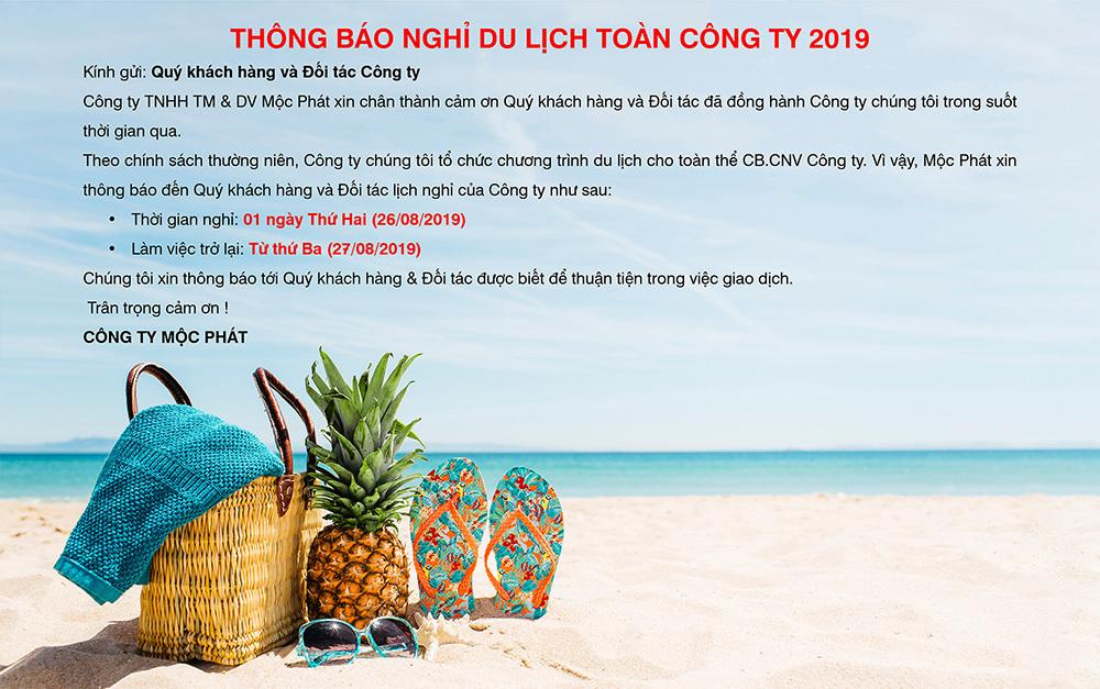 Thông báo nghỉ du lịch toàn công ty 2019
